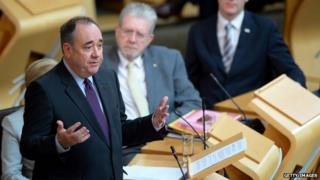 Alex Salmond in the parliament