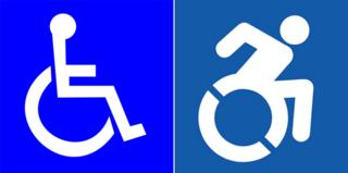 Classic wheelchair symbol; new wheelchair symbol