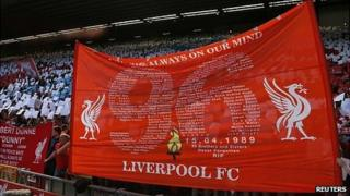Flag listing the victims of the Hillsborough disaster