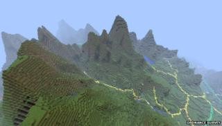 OS Minecraft map of Snowdonia