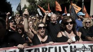 Protestors on strike in Athens 18th September.