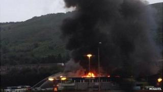 Eight fire crews were sent to the scene with the blaze spreading to three factory units
