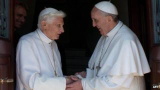 Emeritus Pope Benedict XVI and Pope Francis, file picture