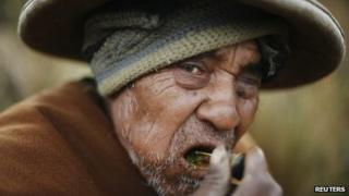 Peruvian man chewing coca