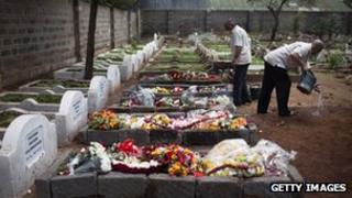 A cemetery worker washes his hands next to five fresh graves in Nairobi