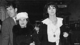 April Ashley with her mother at London Airport, 1962