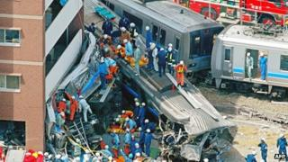 File photo: the JR West train crash in Amagasaki, Japan, 25 April 2005