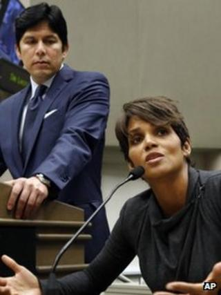 Halle Berry, with Senator De Leon