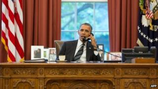 President Obama speaks to President Rouhani on the phone, 27 September 2013