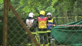 Tarpaulin covering crash site