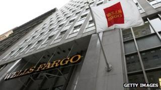 Wells Fargo sign outside its office
