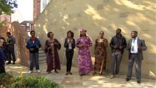 A choir at the Humanitarian Wall
