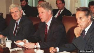 House Speaker Newt Gingrich, President Bill Clinton, and Senate Majority Leader Robert Dole meet at the White House in April 1995.