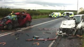 Scene of crash on A596 at Crosby Villa, Maryport