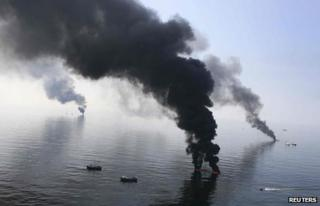 Smoke billows over Gulf of Mexico after Deepwater Horizon disaster 2010