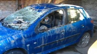 Damaged Peugeot 206 after accident