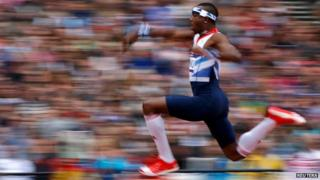 "Phillips Idowu competes in the men""s triple jump qualification during the London 2012 Olympic Games"