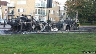 Bus after the fire on Leyton Green Road