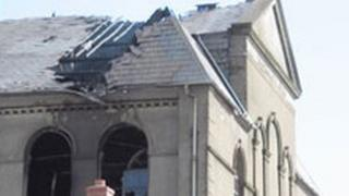 The damaged chapel roof