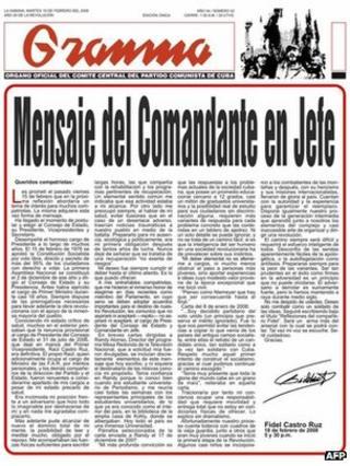 Granma with Fidel's resignation, 2008