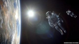 Movie still from Gravity showing George Clooney and Sandra Bullock floating in space