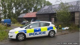 Police at Begwary barn