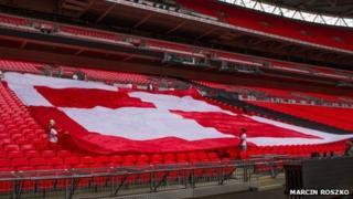 Poland fans' flag at Wembley