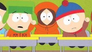 South Park characters Kyle, Kenny and Stan