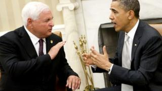 File photograph of Ricardo Martinelli with Barack Obama