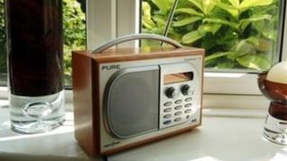 DAB radio on a windowsill