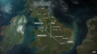 Map of the proposed HS2 route