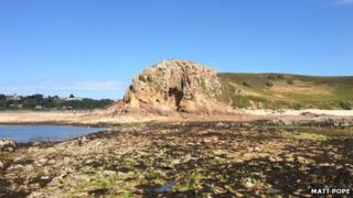 La Cotte dig site at low tide