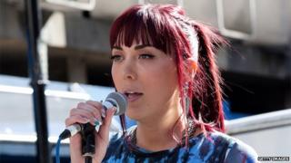Paris Lees speaks to protesters outside the Daily Mail on 6 October 2013