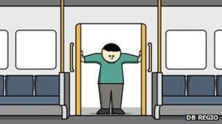 Cartoon passenger holding door open