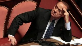 Silvio Berlusconi in parliament in October 2013