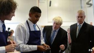 Boris Johnson and the Duke of York and students