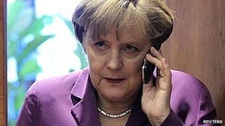Angela Merkel uses mobile phone. (File image)