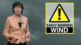 A weather reporter with a Wind warning