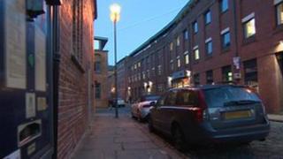 Cars parked on Leeds street