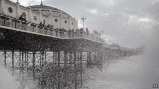 Waves crash at Brighton, East Sussex