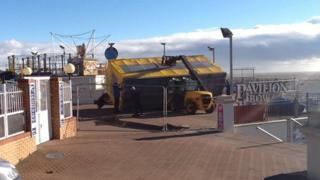 Damaged rides at Clacton Pier