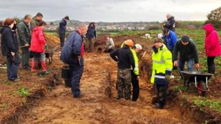 Archaeologists on site