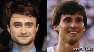 Daniel Radcliffe and Sebastian Coe as he was in 1984