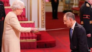 Sir Michael Moritz with The Queen