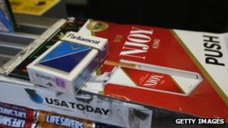 Cigarettes on a New York newsstand