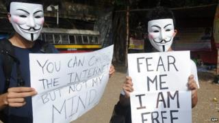 File photo of a protest against internet censorship in Bangalore