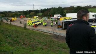 The scene of the M25 lorry crash