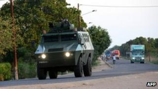 police armoured vehicle in Mozambique