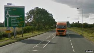 Google Street View picture of Wragby Road at Bunkers Hill roundabout