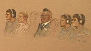 Court drawing of Old Bailey trial